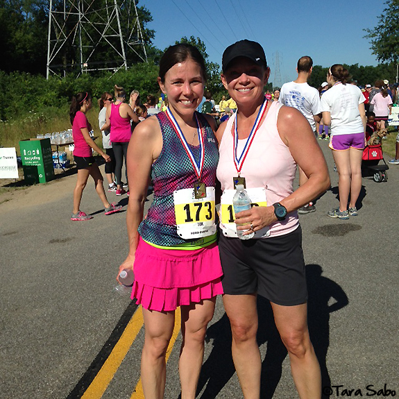 running, run chat, race day, mother, daughter, notre dame, race medal