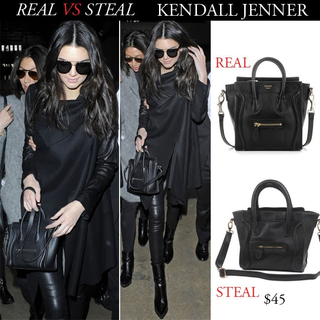 Real Vs Steal Kendall Jenner With Black Leather Celine Mini Bag In London On February 16 I