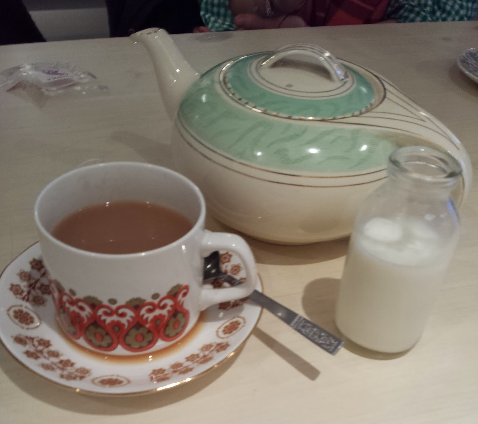 tea served in vintage china with little milk bottle
