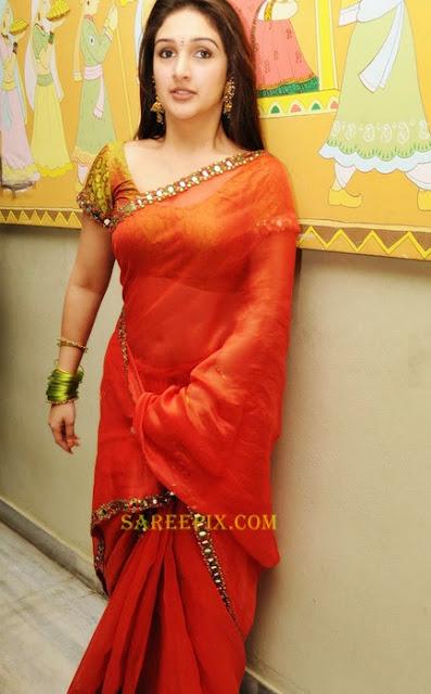Sridevi_ornage_transparent_saree