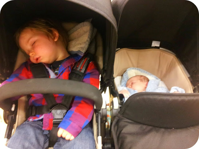 bugaboo donkey, asleep in double buggy, large toddler in bugaboo