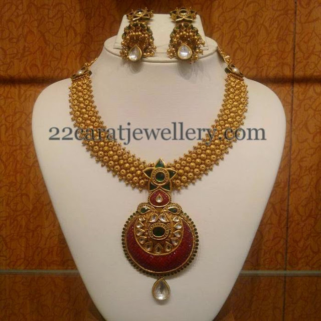 Antique Set with Fancy Jhumkas