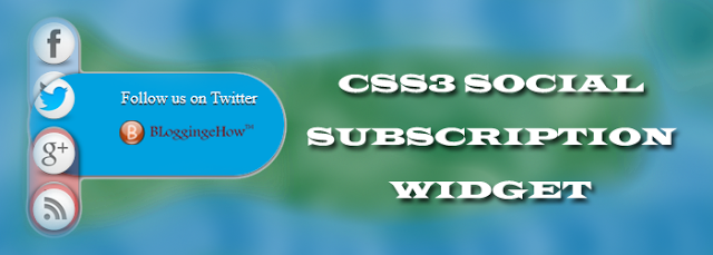 Slide CSS3 Social Subscription Glass