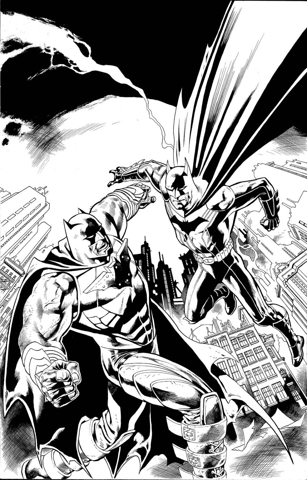 Comic Book Cover Drawing : Kevin nowlan batman vs bat bane variant cover art
