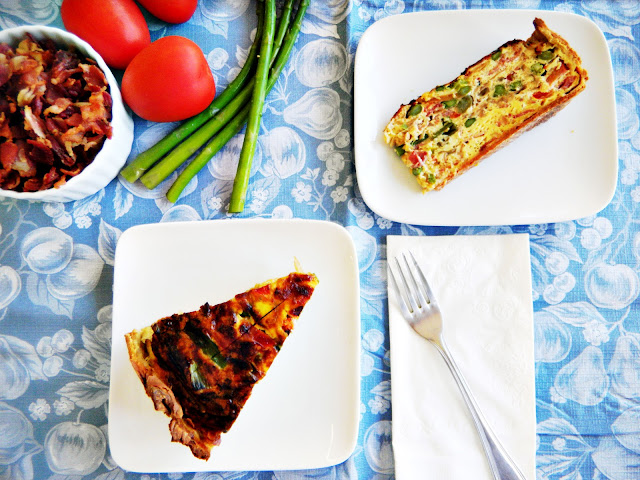 bacon, asparagus, caramelized onions and tomato quiche