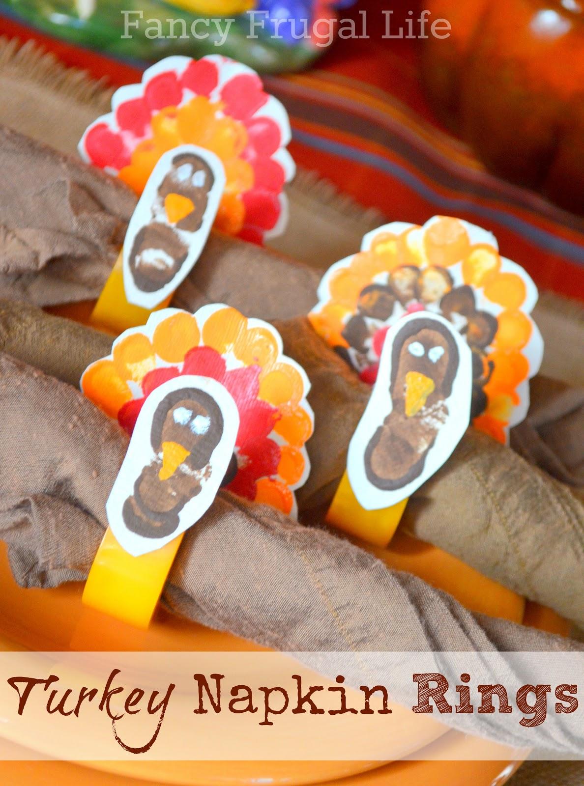 Thumbprint turkey napkin rings my thanksgiving for Napkin rings for thanksgiving