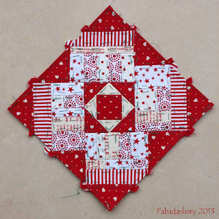 Block 55 Nearly Insane Quilt Red and White