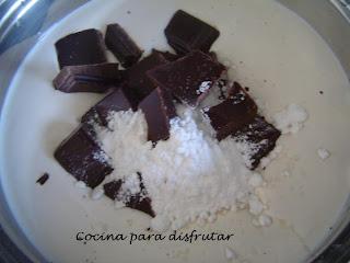 PANACOTTA DE CHOCOLATE CON NATA DE SOJA