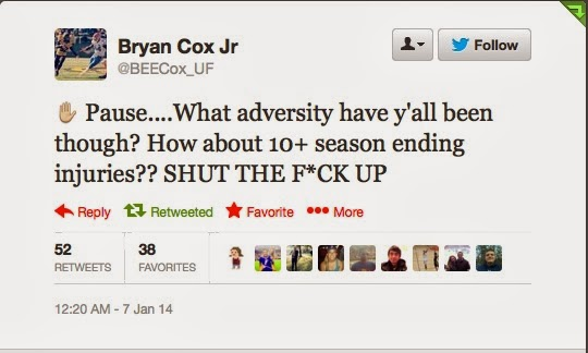 Florida DL Brian Cox Jr. mocks FSU claims of adversity on Twitter.