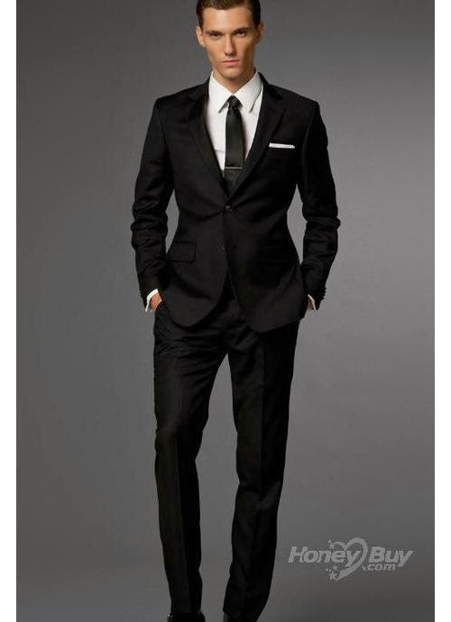 Mens Fitted Black Suits Dress Yy