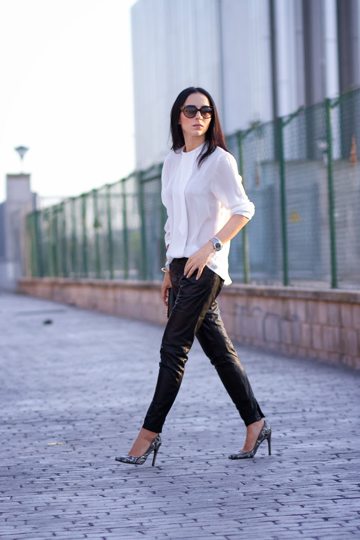 MUUBAA LEATHER PANTS and AMAZING STILETTOS