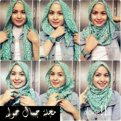 بالخطوات المصورة 10 لفات حجاب كاجوال 2014 - 2015