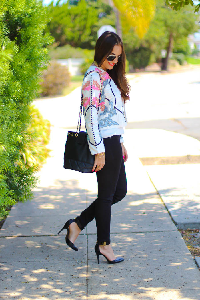 asos embellished jacket, black target jeggings jeans legging, asos bucket bag