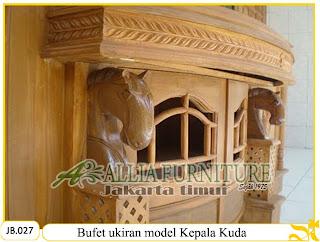 Buffet ukiran kayu jati model kepala kuda