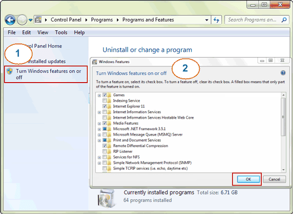 unload windows 7 system components