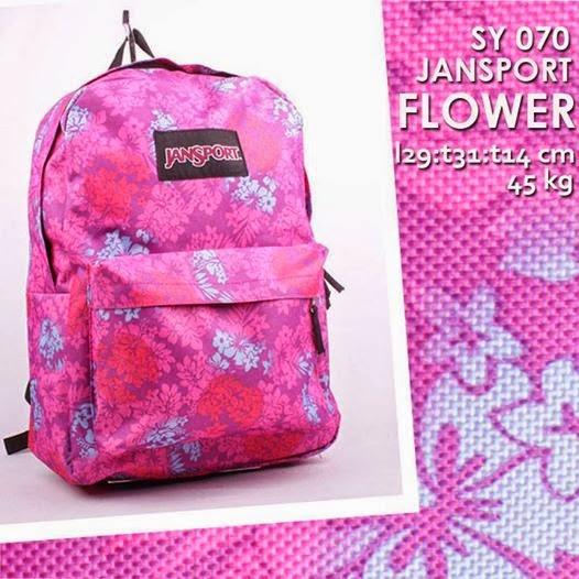 jual online tas jansport murah cantik motif bunga