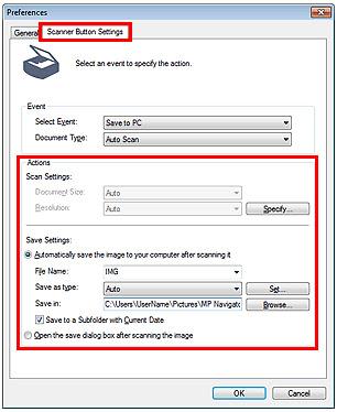 Вкладка Scanner Button Settings