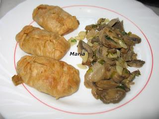 Paquetitos de verduras con champiñones al ajillo