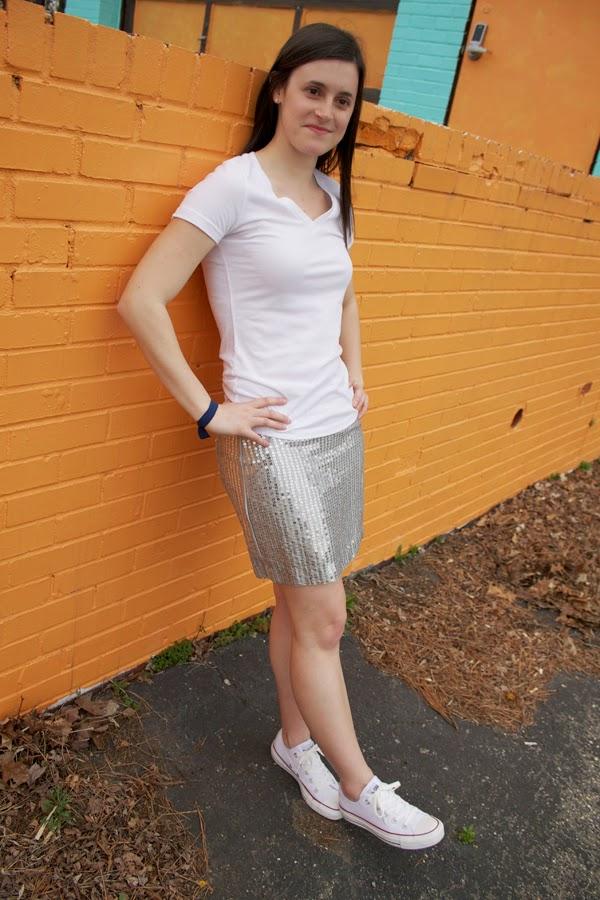 sequin skirt, Gap skirt, v-neck tee, Target tee, Converse, Converse Chuck Taylor All Star, white Converse Chuck Taylor All Stars