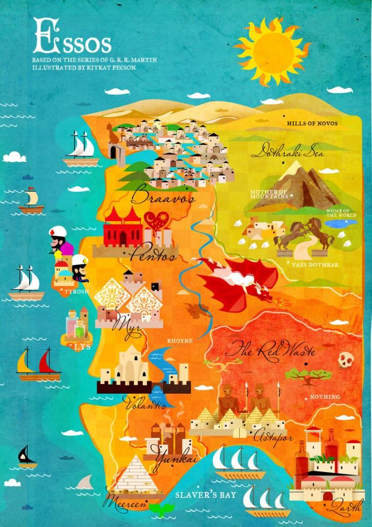 A Song Of Ice And Fire A Map Of Westeros And Essos