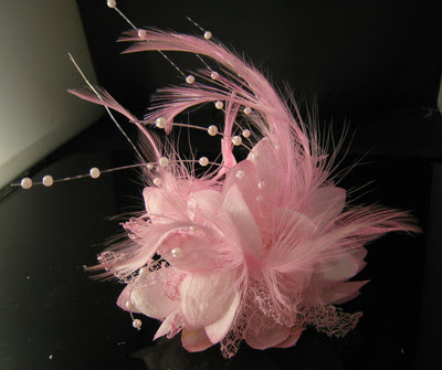 Caprilite uk fascinators and accessories baby pink fascinator baby pink flower feather bead fascinator corsage by caprilite mightylinksfo
