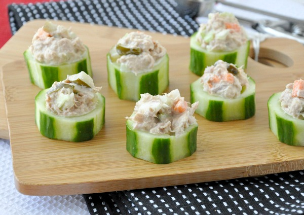 vegetable tuna salad cucumber cups