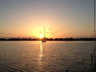 Sunrise over Isla Mujeres from Whispering Jesse at anchor