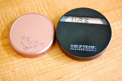 Tarte Blush in Exposed and Make Up Forever Powder Foundation in #205