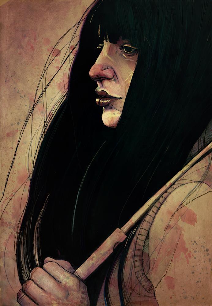 Sad Girl Umbrella Illustration