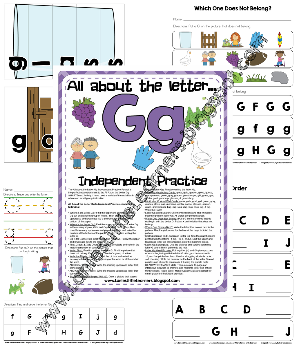 All About the Letter G Independent Practice - Letter of the Week