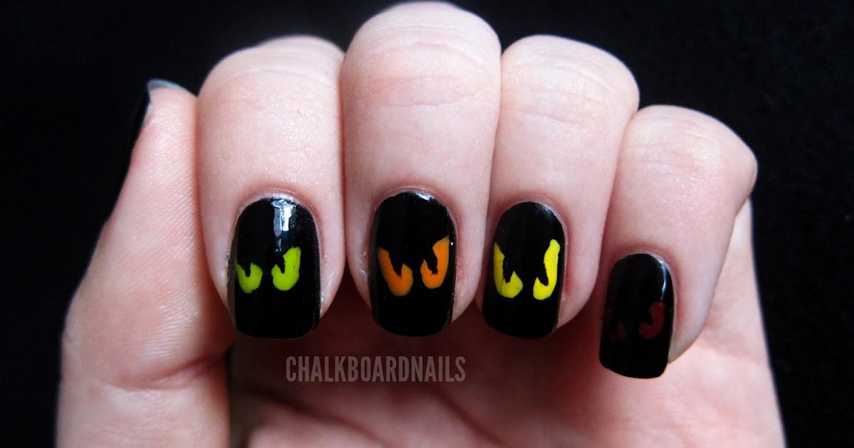 Simple Spooky Eyes Chalkboard Nails Nail Art Blog