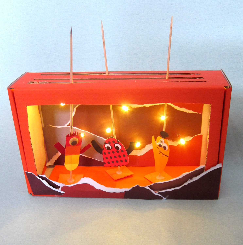 Skotøjsæske dukketeater med lys i