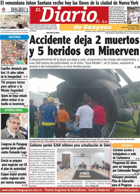 El Diario de Guayana (Bolívar) (22 de Junio 2012)
