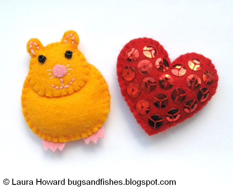 Bugs and Fishes by LupinHow ToMake a Mini Felt Hamster  Heart