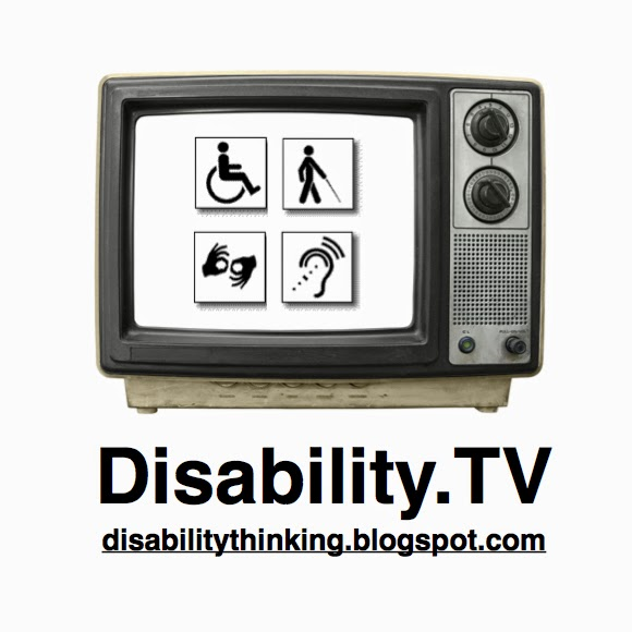 Photo of an old style tv set with four disability symbols on the screen. Title reads Disability.TV web address disability thinking.blogspot.com