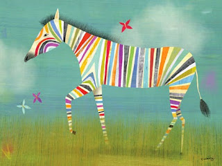 rainbow zebra art