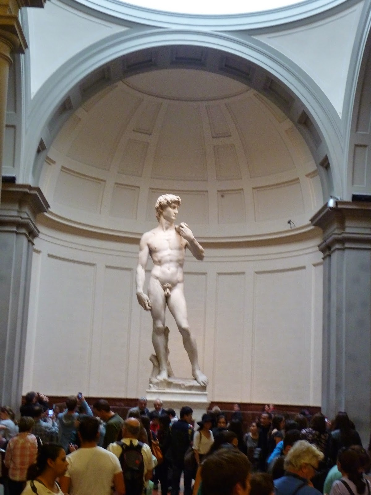 Florence At The Accademia Museum Which Has A 17 Foot High Statue Of David Goliath Fame By Michelangelo Even With Crowds Gathering Around His Feet