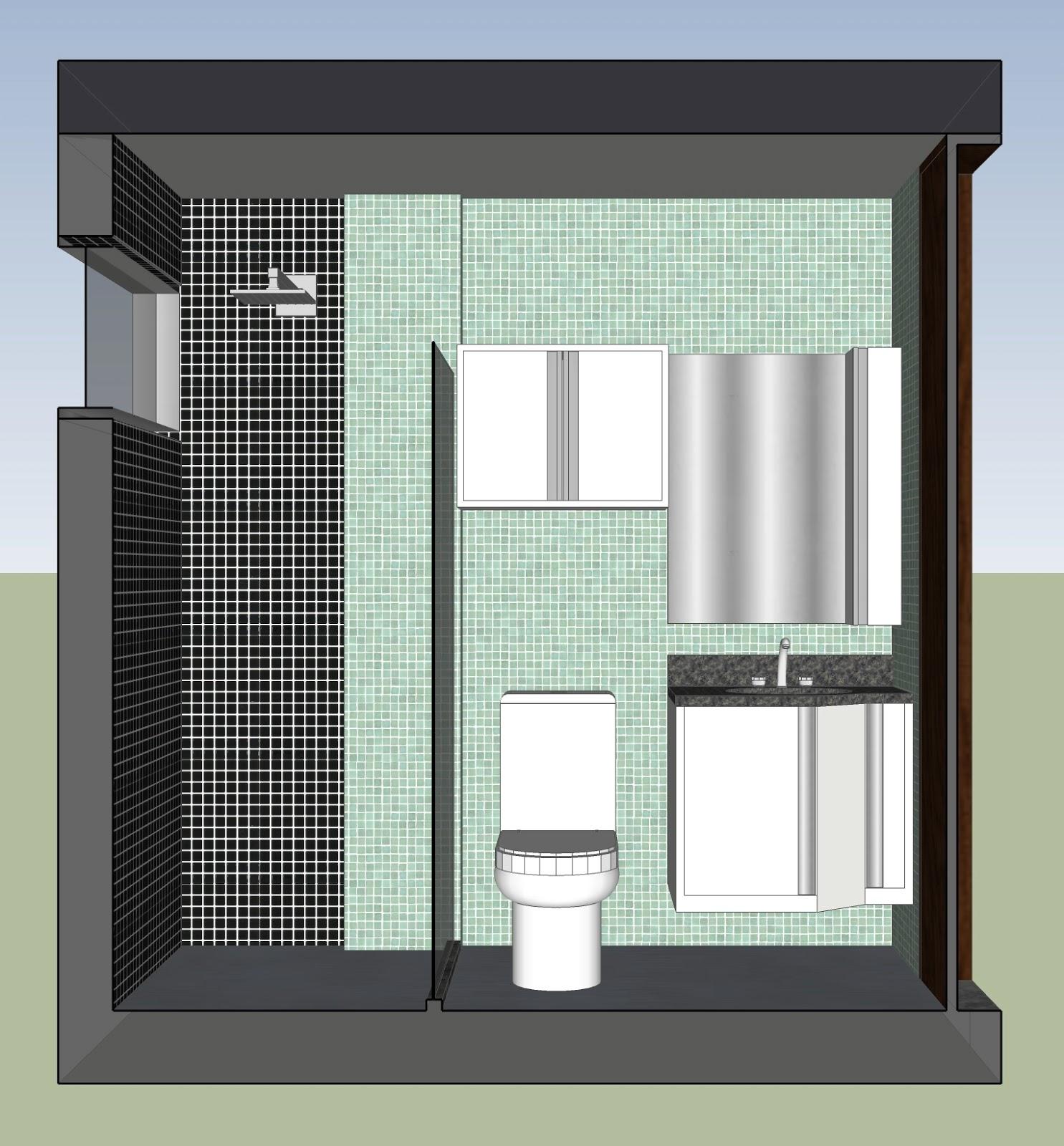 Arquitetura e Interiores: Projeto de Interiores Banheiro Social em  #4D6A7E 1485 1600
