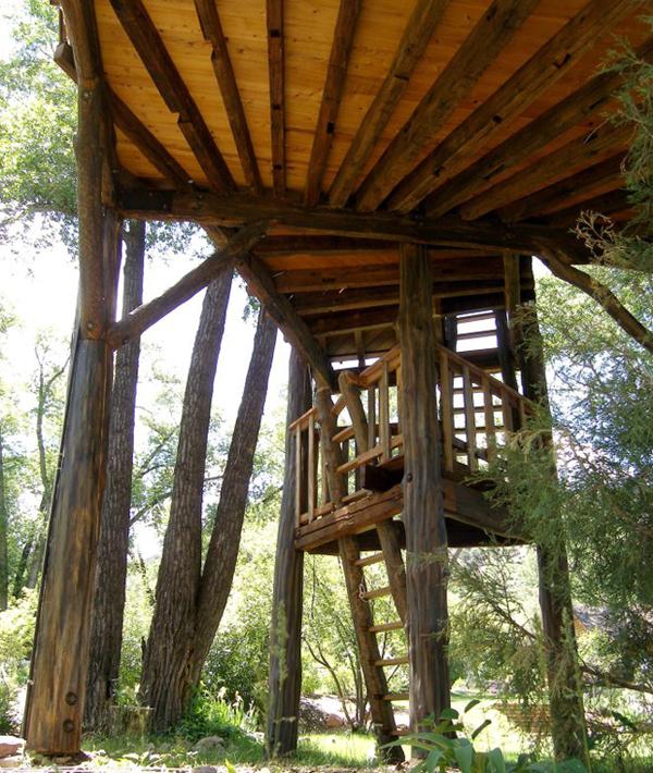 Estructura de troncos de madera que sostienen la estructura