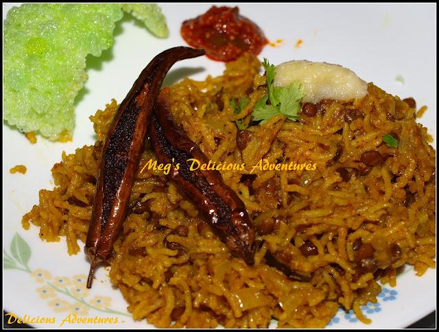 Whole Masoor Beans Pilaf/Pulao (Masoor Khichadi)