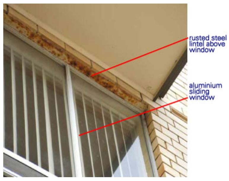 the problem with steel lintels is that steel is subject to rust here is an unrelated photo from this australian site showing such a condition on another