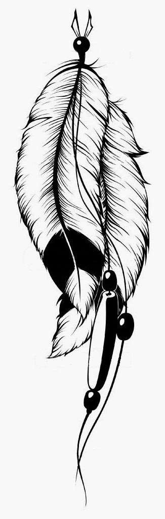 Feathers Indian tattoo stencil