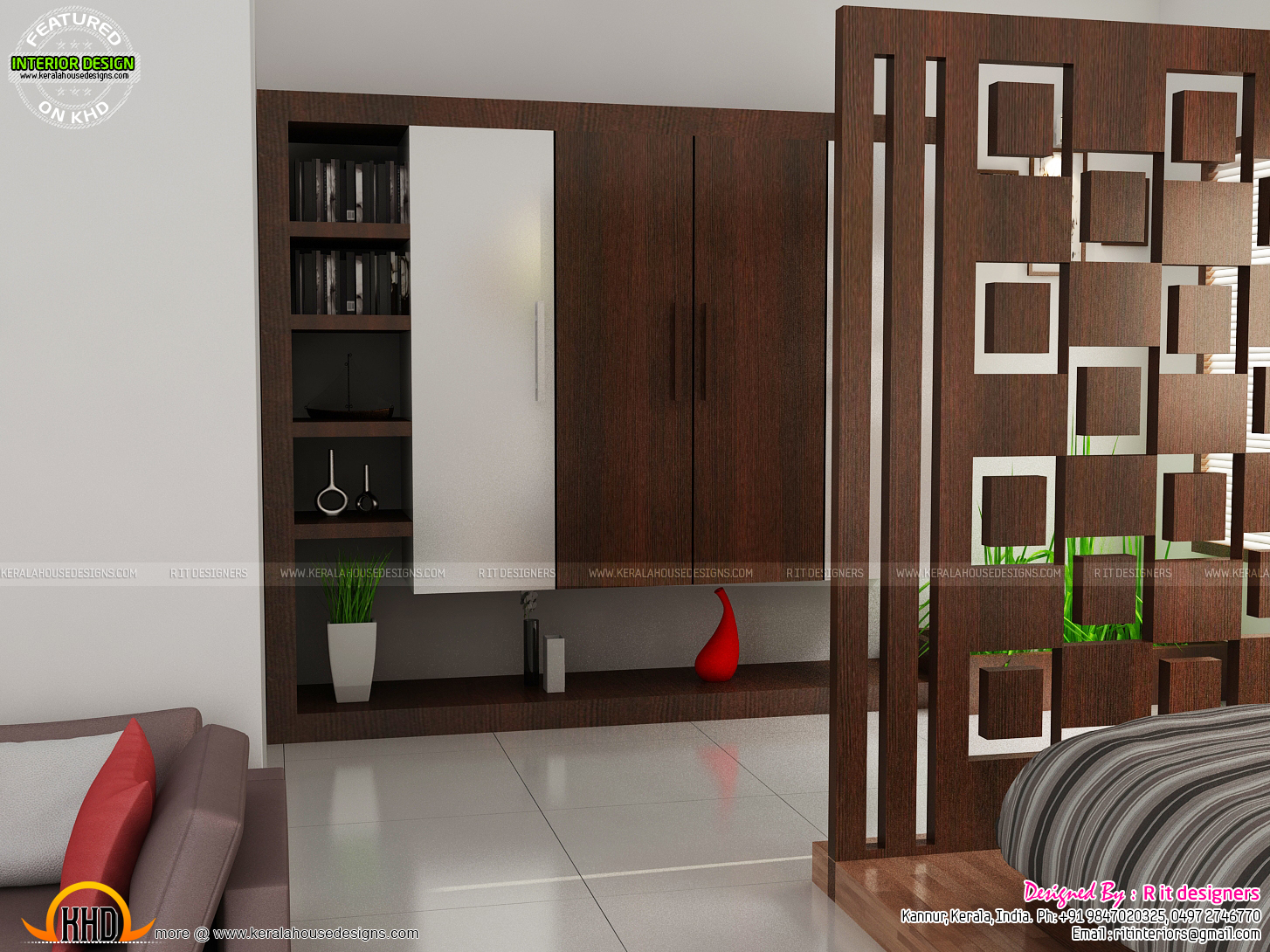 Beautiful living room bedroom kitchen kerala home for Kitchen wardrobe design
