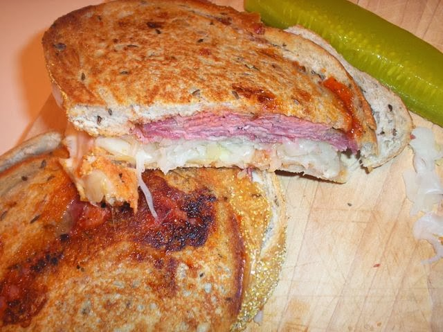 hot reuben sandwiches with red russian dressing