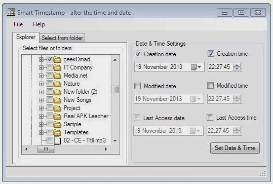 Smart Timestamp changes the creation, modification and last access time and date