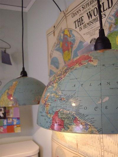 lampa a motywem mapy motyw pozdróżniczy Eco manufaktura