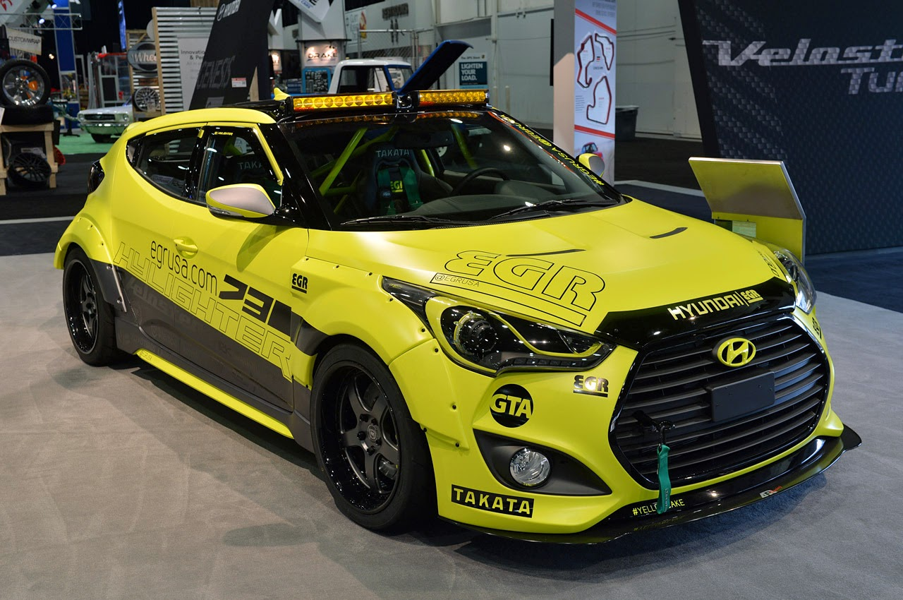 Modified Cars Hyundai Veloster Turbo Strut Their Sema Stuff Intercooler Brought A Pair Of Very Yellow Velosters To This Years Show The First Is Car You See Above Hylighter