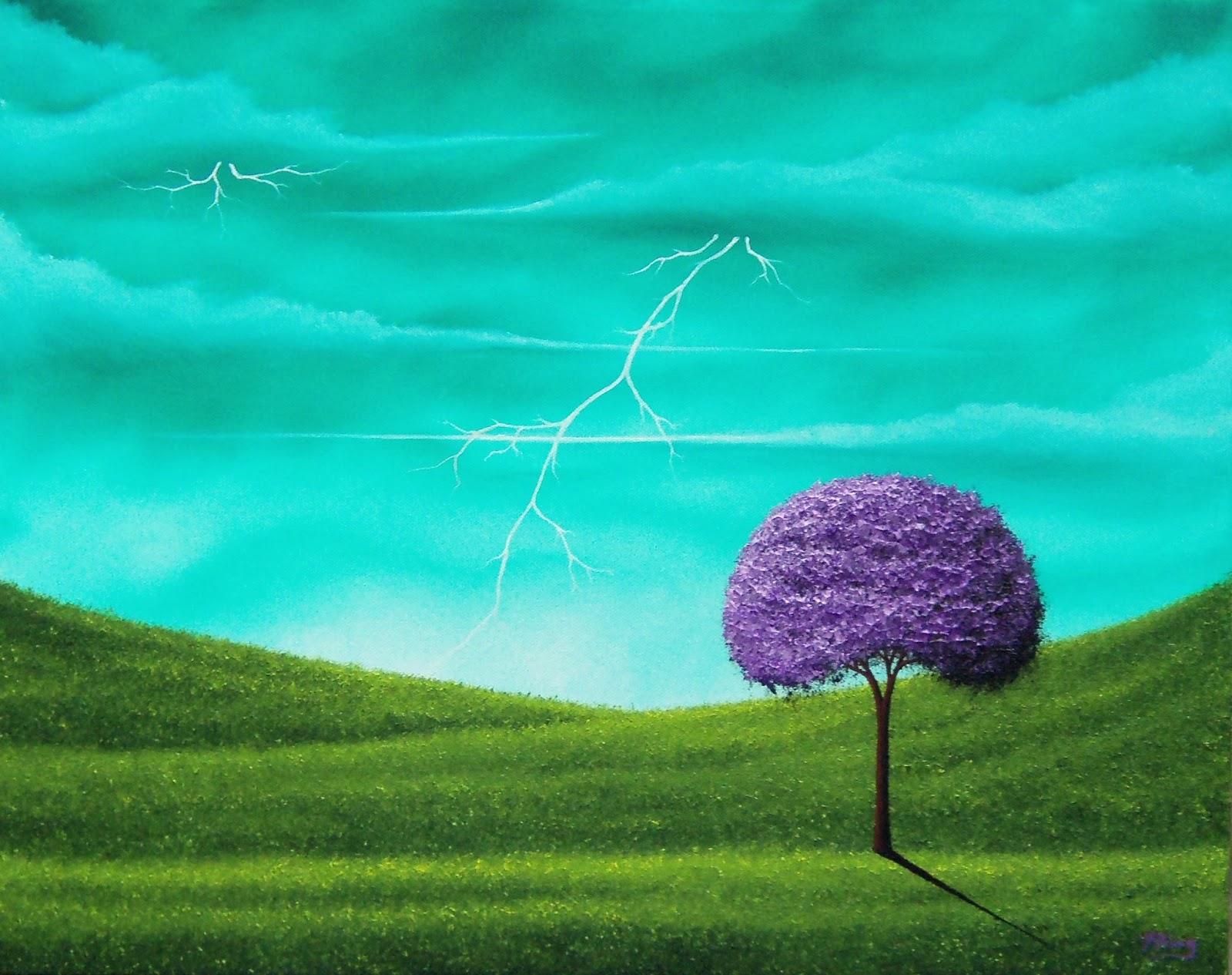 Lightning storm painting