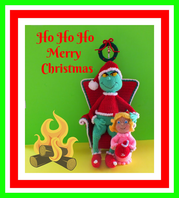 Crochet Christmas Grinch Inspired Dolls & Chair Pattern© By Connie Hughes Designs©