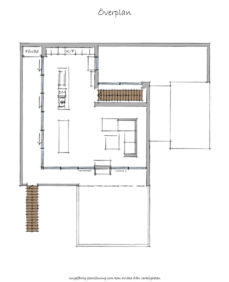 First floor plan of Modern beach house in Sweden